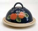 A57n  Apples Butter dish, inscribed Bandon Pottery