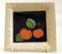 ASQ01 Apples Small square plate Bandon Pottery
